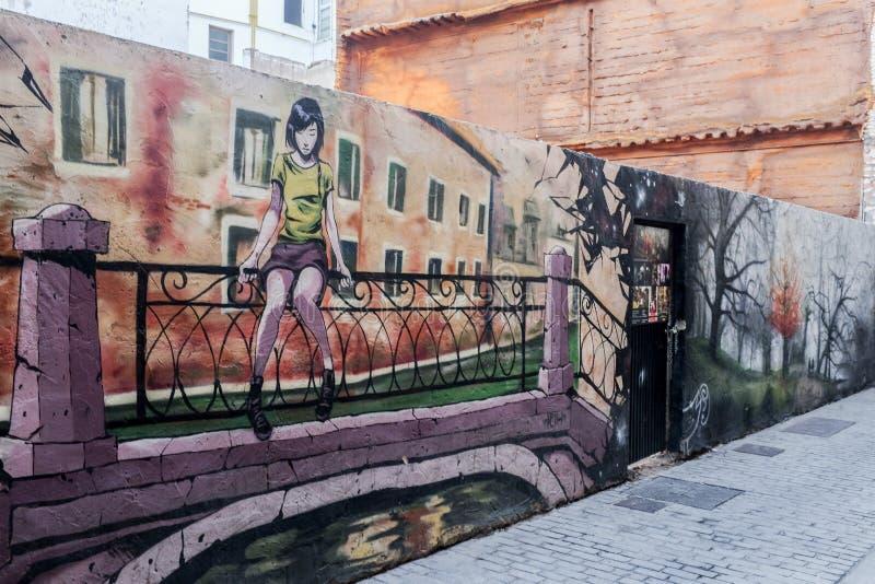 在calle Moret的壁画在卡门邻里,巴伦西亚,西班牙 免版税库存图片