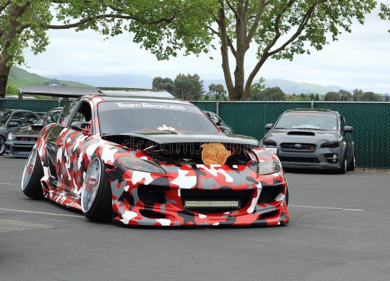 在Carnvl普莱加利福尼亚在一起的展示汽车 库存照片