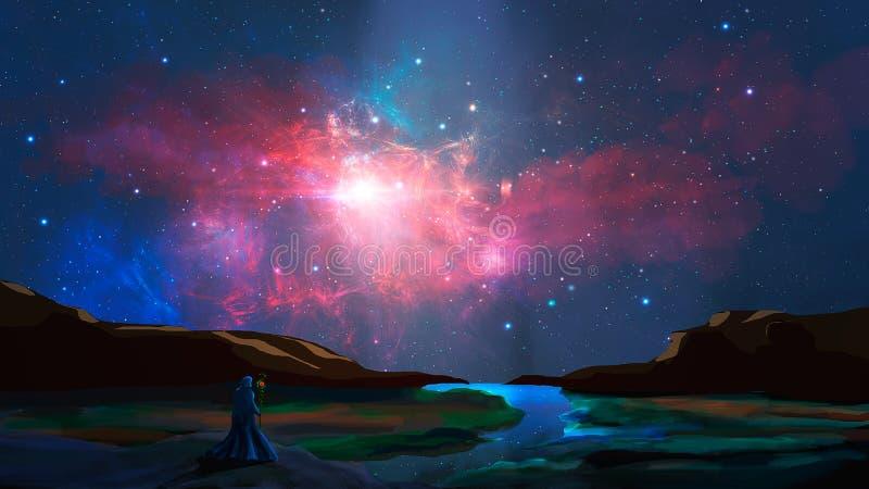 在cci fi风景的魔术师立场与河、岩石和五颜六色的星云,数字绘画 r 皇族释放例证