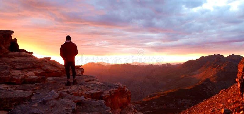 在Cedarberg山的日落 免版税库存照片