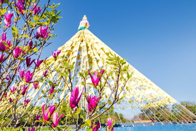 在Chagdud Gonpa Khadro石楠佛教寺庙-特雷斯Coroas,南里奥格兰德州,巴西的佛教祈祷的旗子 库存照片