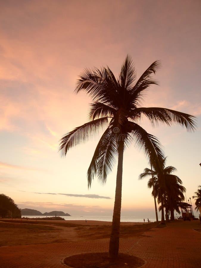 在Chahué海滩, Huatulco, México的桃红色橙色日出 免版税库存照片
