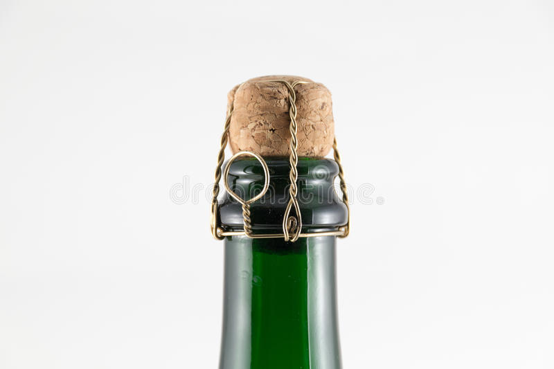 在Chanpagne瓶的黄柏 免版税库存图片