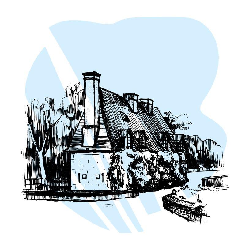 在Chateau de Chenonceau,卢瓦尔河流域,法国附近的手拉的剪影议院 也corel凹道例证向量 向量例证