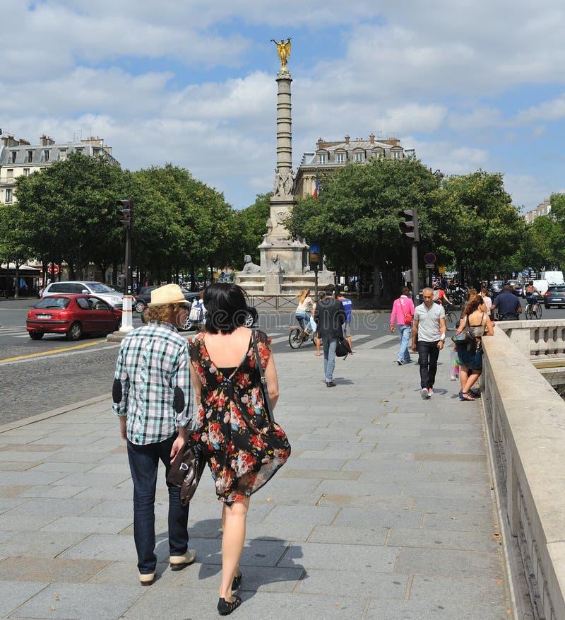 在Chatelet广场的胜利专栏 免版税库存照片