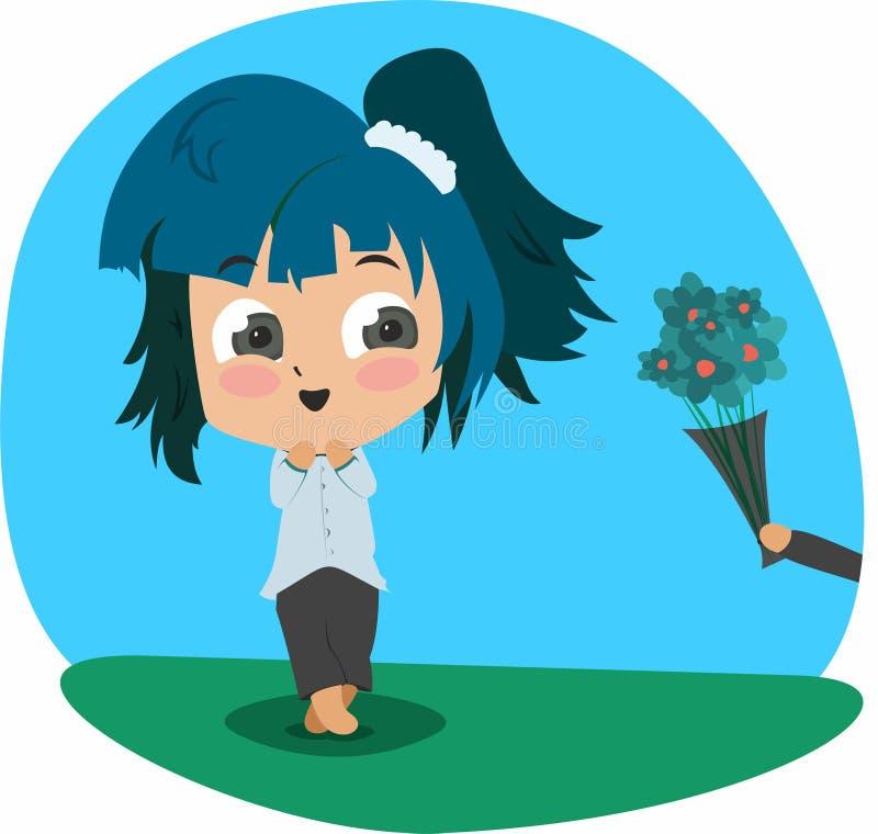 在chibi样式绘的女孩,花 库存图片