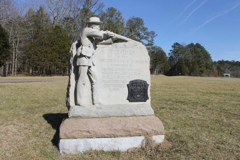 在Chickamauga和加得奴加Natonal军事公园的纪念碑 免版税库存照片