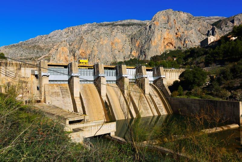 在Chorro河的水坝 安大路西亚 库存图片