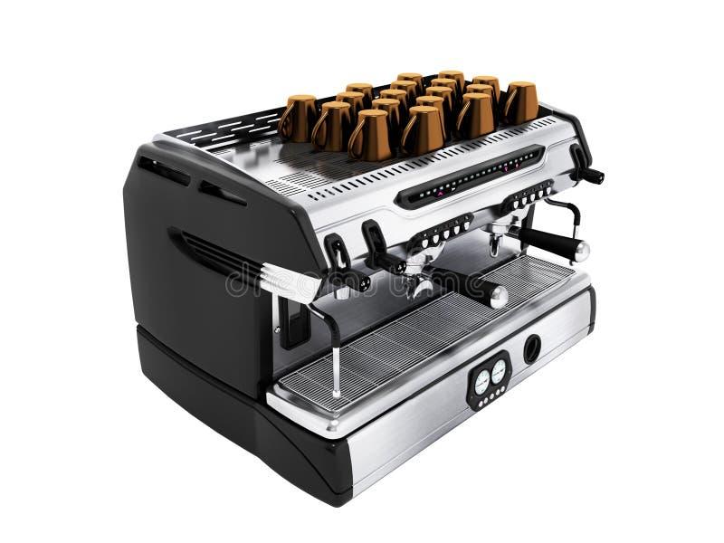 在chotry杯子的现代金属咖啡机有套的3d回报在白色背景的杯子没有阴影 皇族释放例证