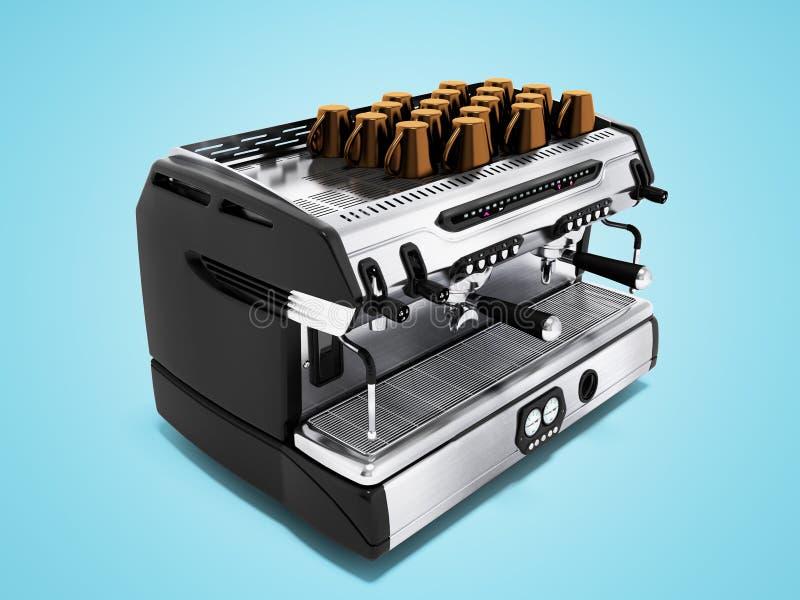 在chotry杯子的现代金属咖啡机有套的3d回报在蓝色背景的杯子与阴影 皇族释放例证