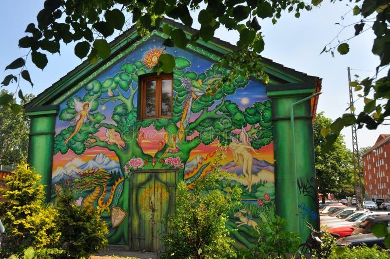 在christiania,哥本哈根的街道画艺术 库存照片
