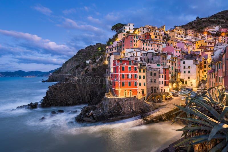 在Cinque Terre,意大利的Riomaggiore 图库摄影
