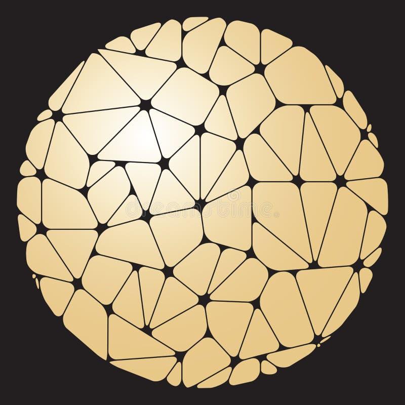 在circl编组的金黄几何元素的抽象样式 向量例证