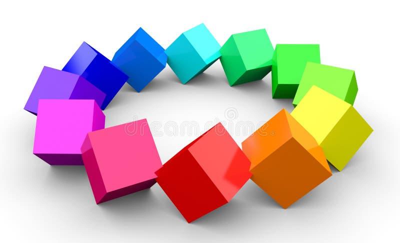 在cirle的五颜六色的3d立方体 向量例证