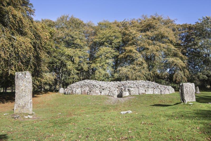 在Clava石标的西北段落坟墓在苏格兰 库存照片