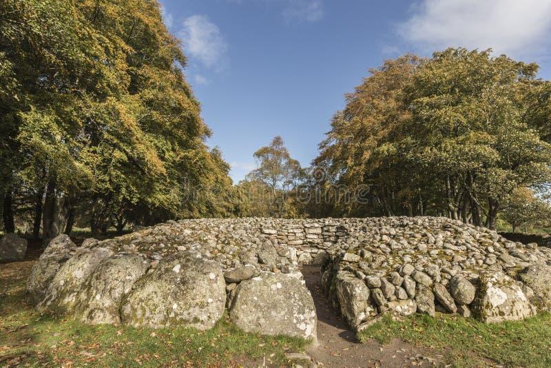 在Clava石标的西北段落坟墓在苏格兰 库存图片