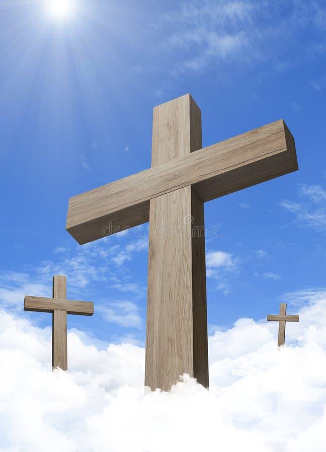 在cloudful天空蔚蓝的木十字架 皇族释放例证