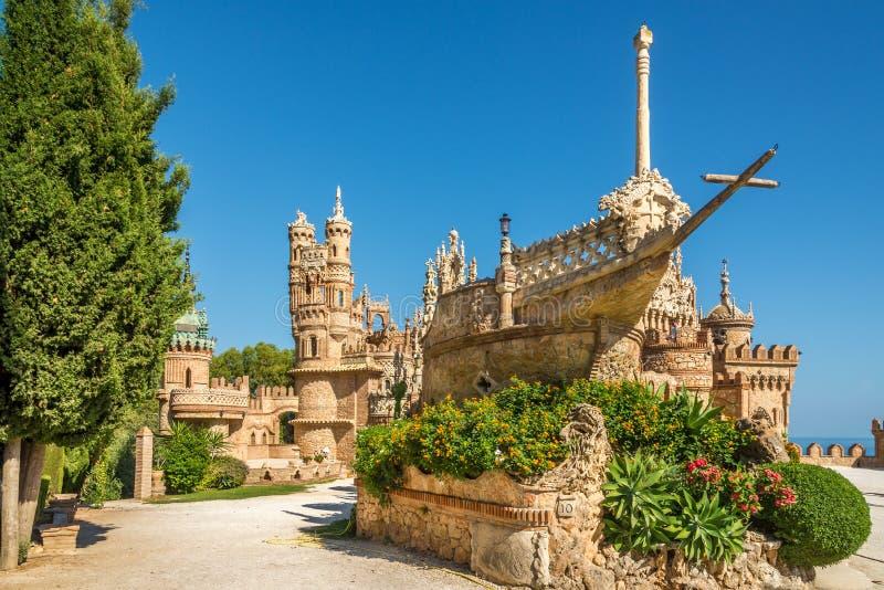 在Colomares城堡的看法在Benalmadena,致力克里斯托弗・哥伦布-西班牙 库存图片