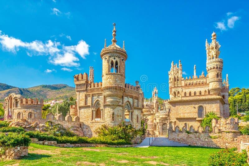 在Colomares城堡的看法在Benalmadena,致力克里斯托弗・哥伦布-西班牙 免版税图库摄影