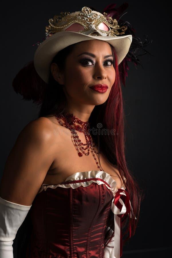 在cosplay的红头发人 免版税库存图片