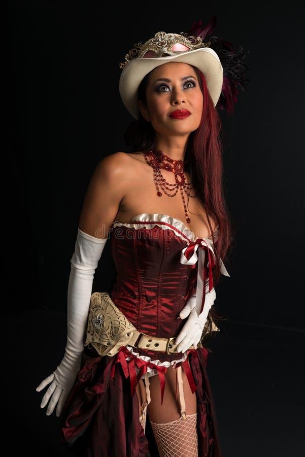 在cosplay的红头发人 免版税库存照片