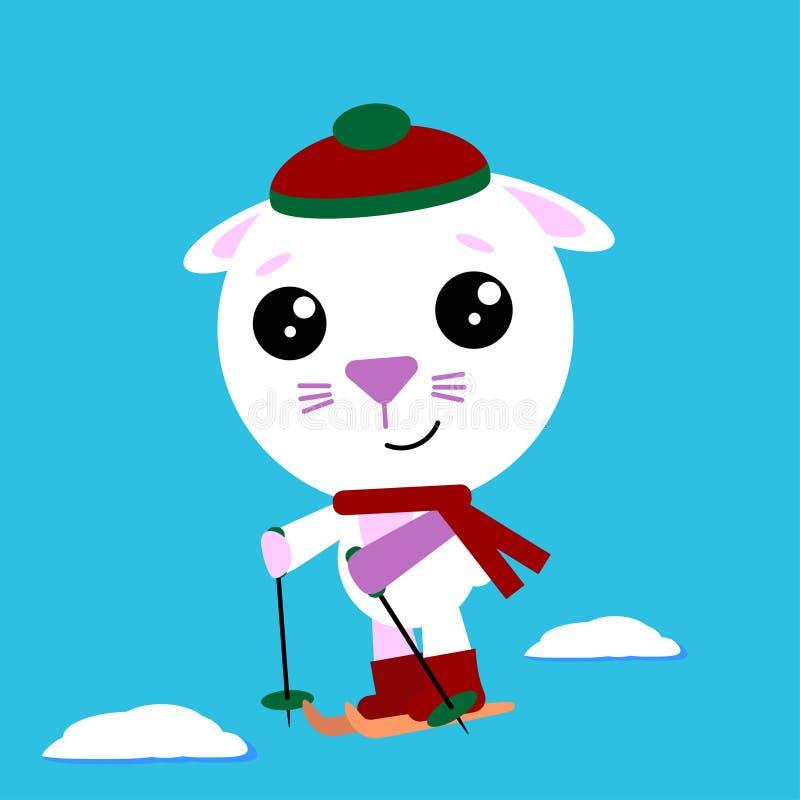 在cozzy帽子和围巾滑雪的兔宝宝 冬天活动炫耀 圣诞节兔子,动画片传染媒介例证 皇族释放例证