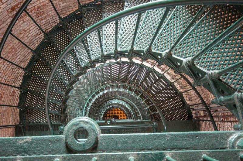 在Currituck光的螺旋形楼梯 库存照片