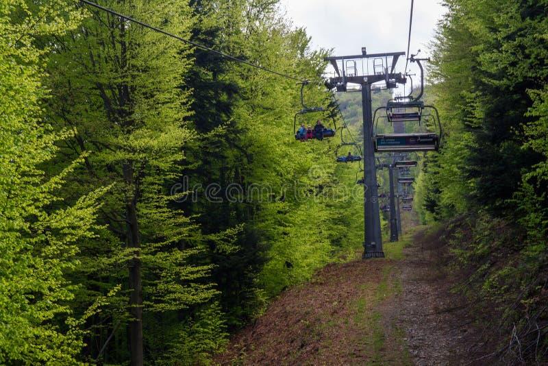 在Czantoria山的驾空滑车,波兰 免版税库存照片