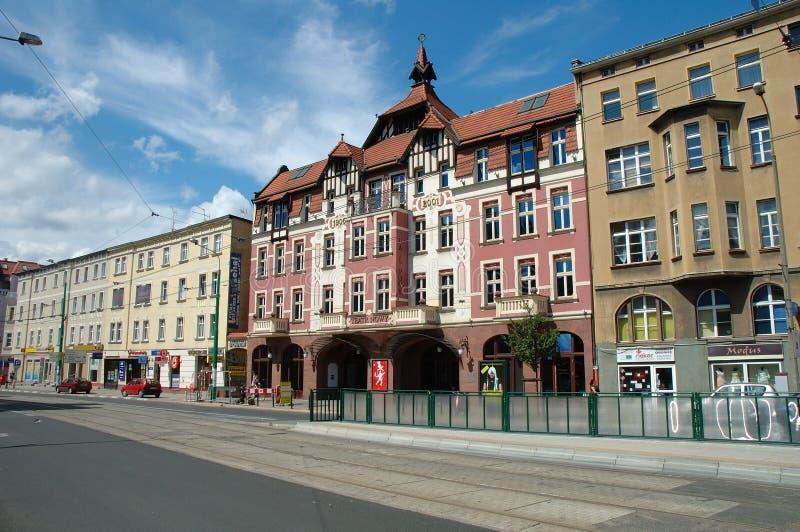 在Dabrowskiego街道上的新的剧院在波兹南,波兰 库存图片
