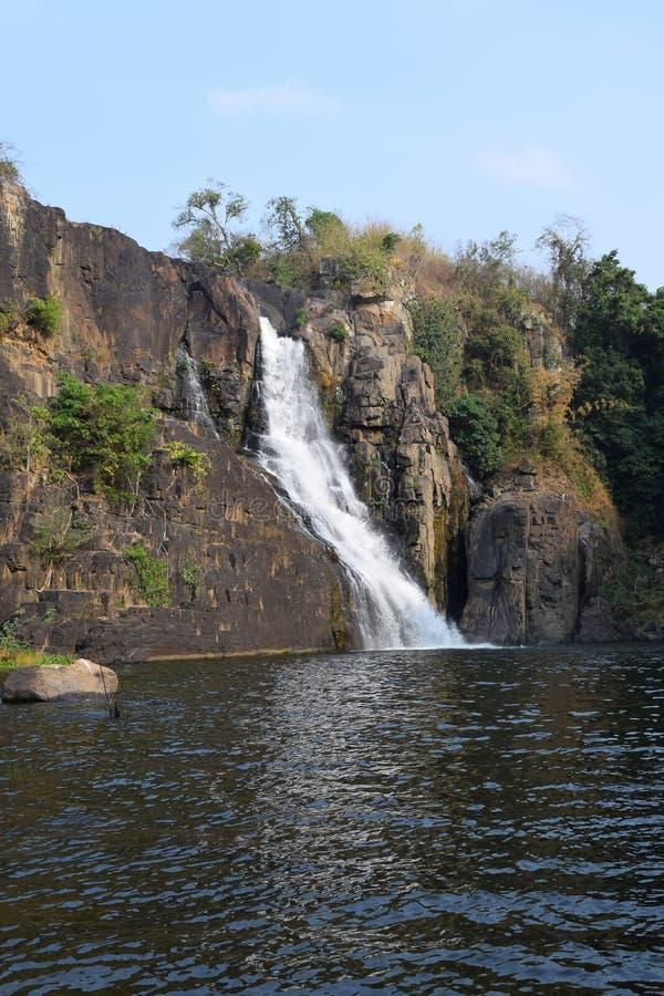 在dalat,越南附近的热带落下的Pongour瀑布 免版税库存图片