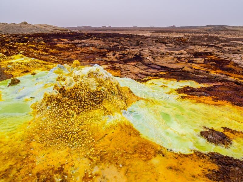 在Danakil消沉,埃塞俄比亚的Dallol 库存照片