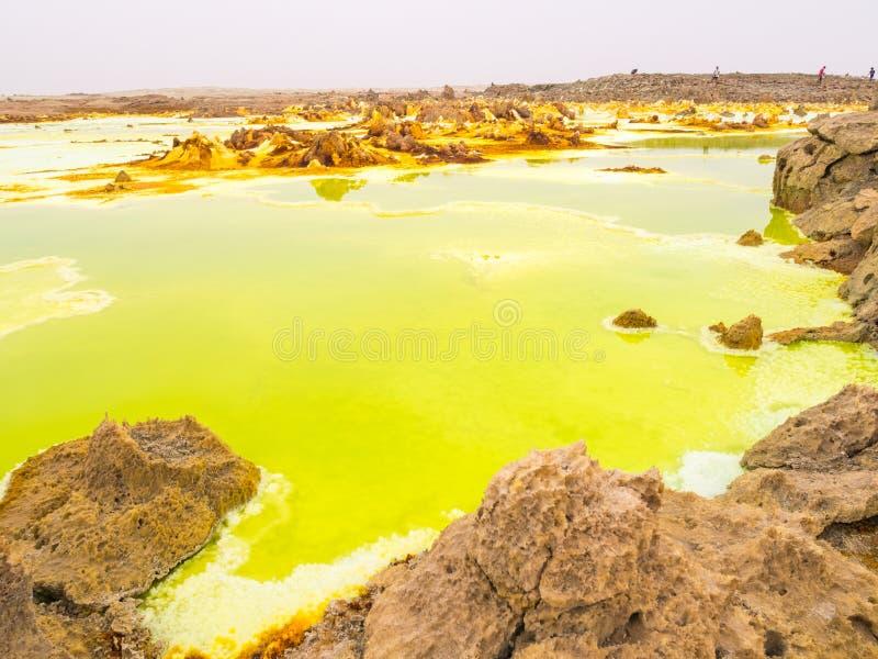 在Danakil消沉,埃塞俄比亚的Dallol 图库摄影