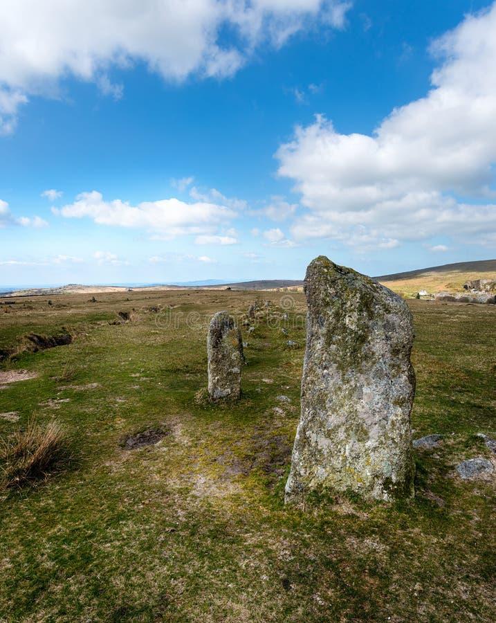 在Dartmoor的常设石头 库存照片