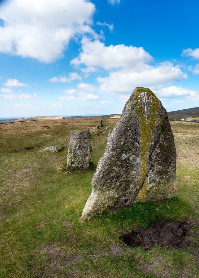 在Dartmoor的常设石头 免版税库存图片