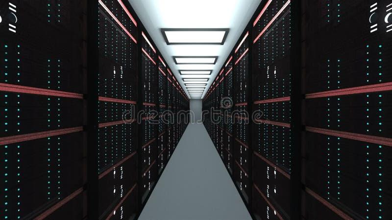 在datacenter的大服务器室内部、网网络和互联网电信技术、数据存储和云彩 向量例证