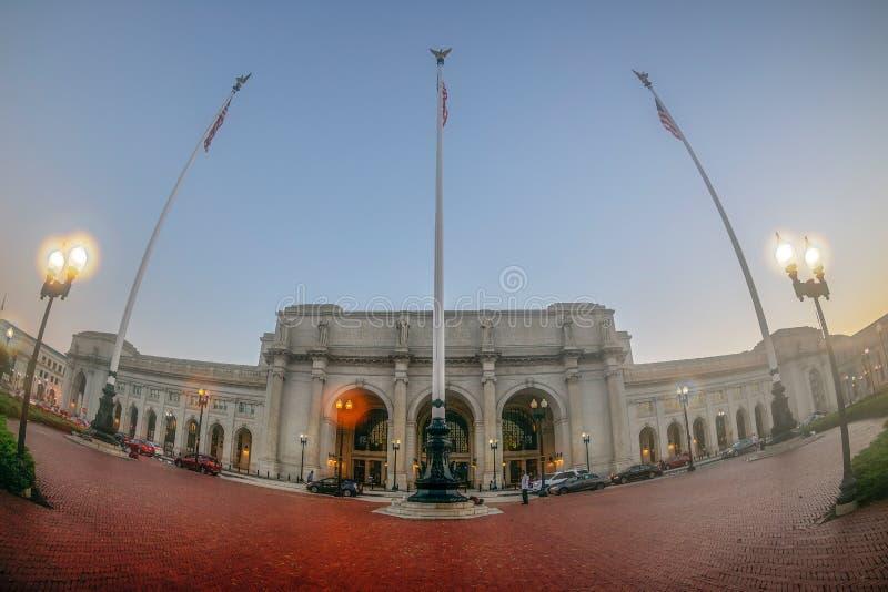 在DC的联合驻地与在前面的旗子 华盛顿特区,美国 免版税库存照片