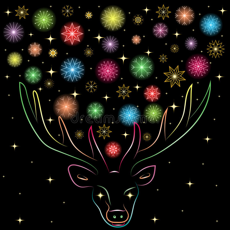 在Deer& x27之间的五颜六色的走路的雪花; s垫铁 手拉的彩虹驯鹿色的剪影  皇族释放例证