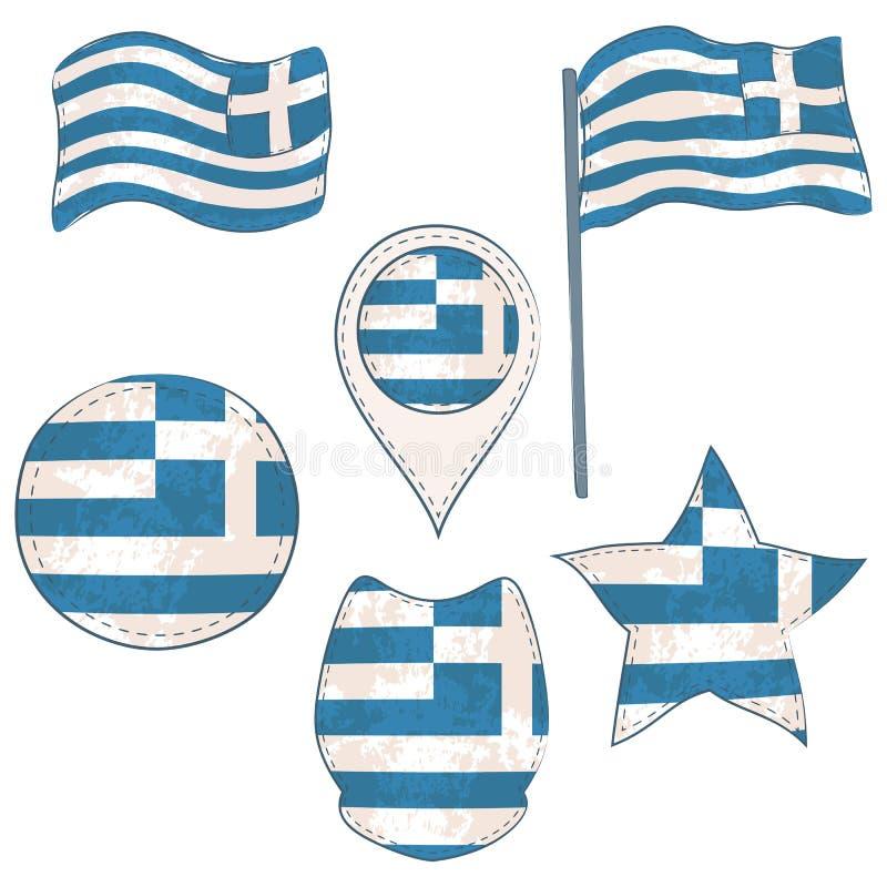 在Defferent形状执行的希腊的旗子 库存例证