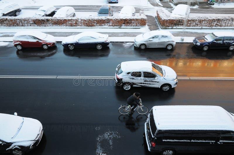 在DENMARK_SNOW秋天的天气 图库摄影