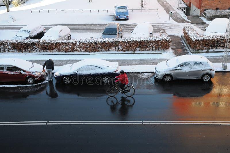在DENMARK_SNOW秋天的天气 库存图片