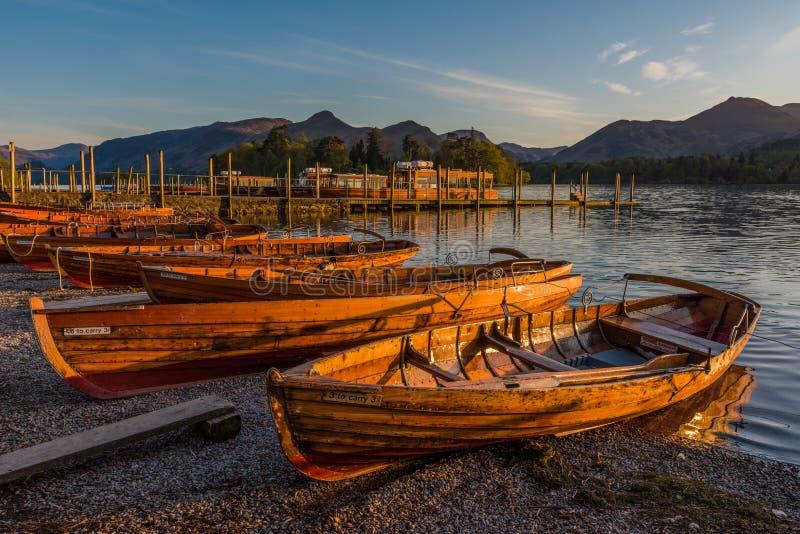 在Derwent水的划艇 图库摄影