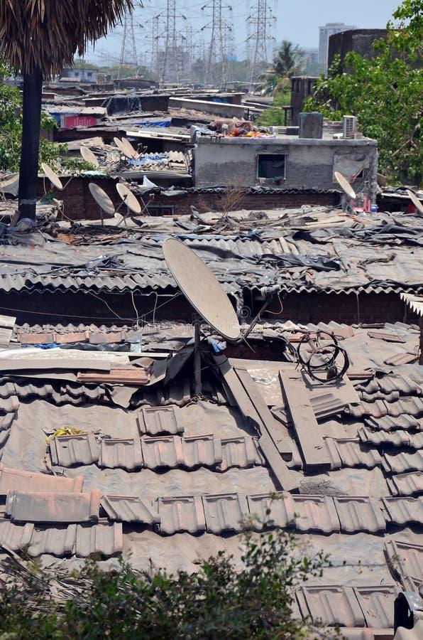 在Dharavi贫民窟的看法 图库摄影