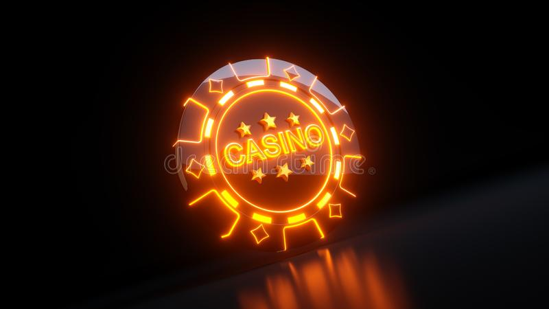 在Diamondss标志概念与霓虹灯- 3D的赌博娱乐场赌博的芯片例证 库存例证
