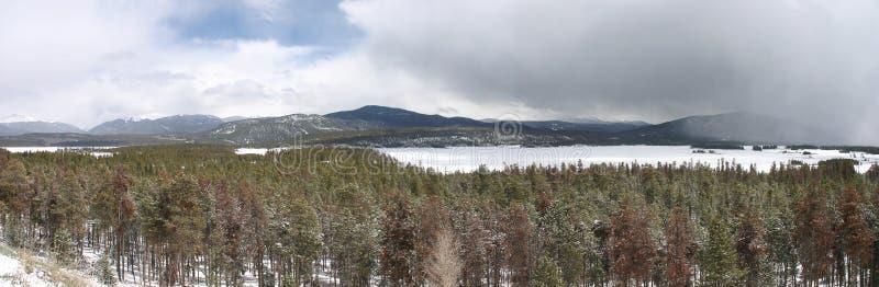 在Dillon湖科罗拉多的冬天 库存图片