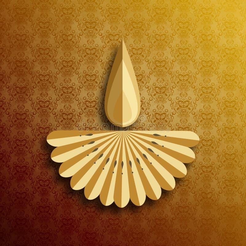 在diwali庆祝时被点燃的愉快的屠妖节迪雅灯 库存例证