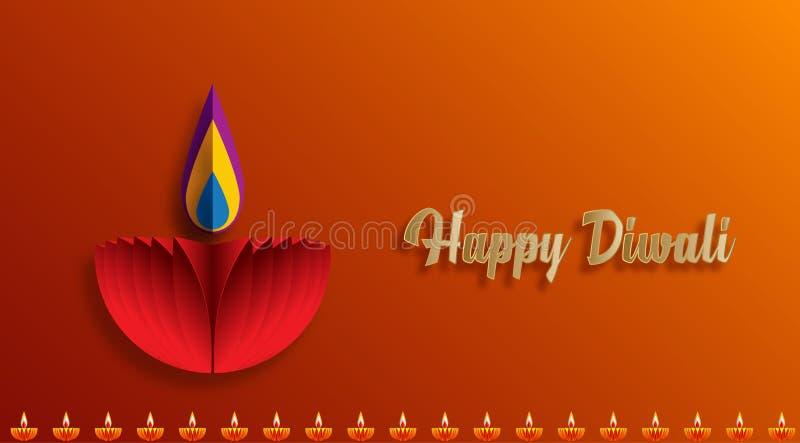 在diwali庆祝时被点燃的愉快的屠妖节迪雅灯 皇族释放例证