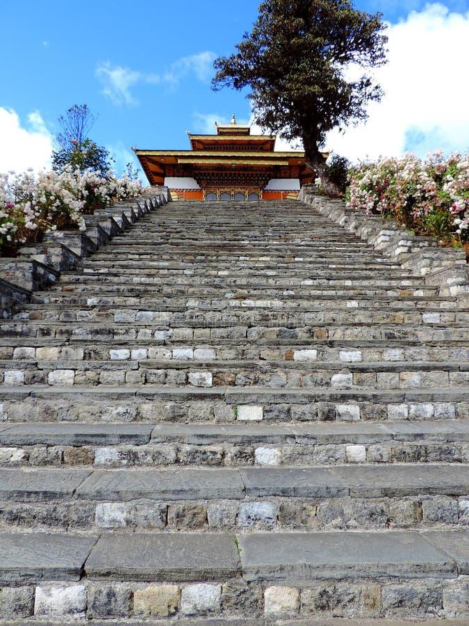 在Dochula通行证,不丹的Druk Wangyal寺庙 免版税库存图片