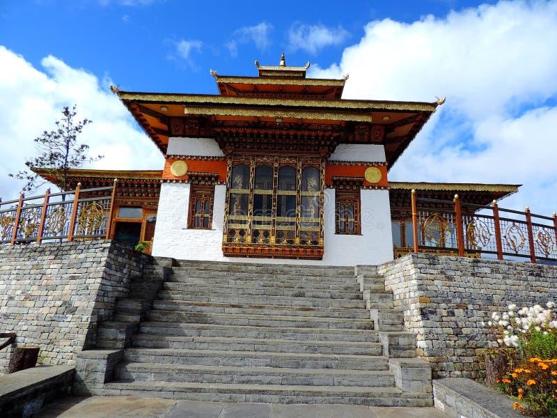 在Dochula通行证,不丹的Druk Wangyal寺庙 免版税库存照片