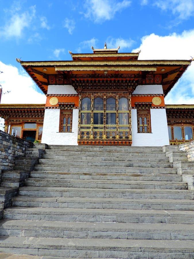 在Dochula通行证,不丹的Druk Wangyal寺庙 库存照片
