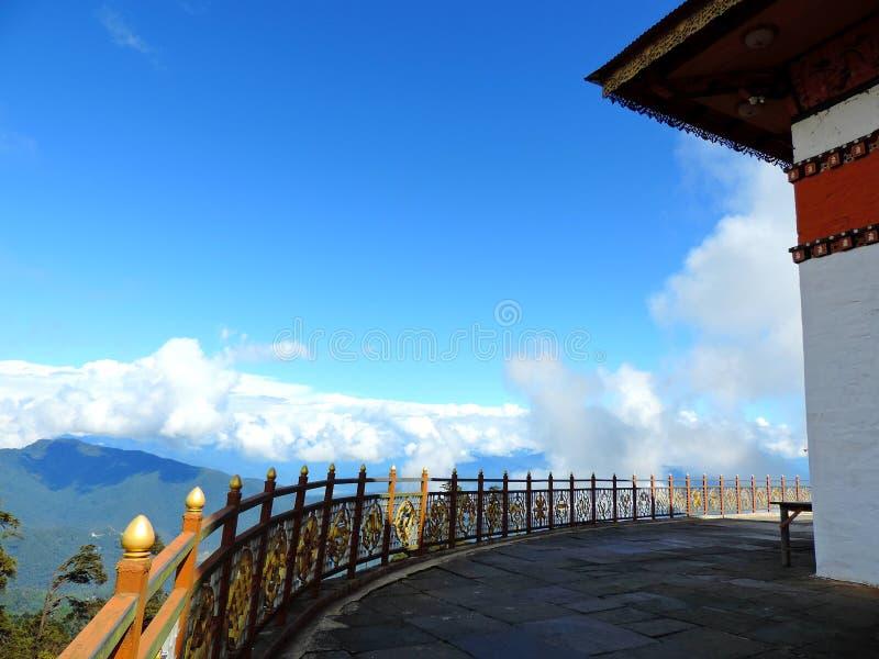 在Dochula通行证,不丹的Druk Wangyal寺庙 库存图片
